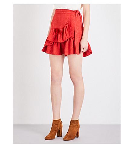 MAJE Jahima ruffled floral-jacquard skirt (Rouge