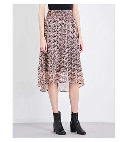 MAJE Janette pleated crêpe de chine skirt (Imprime