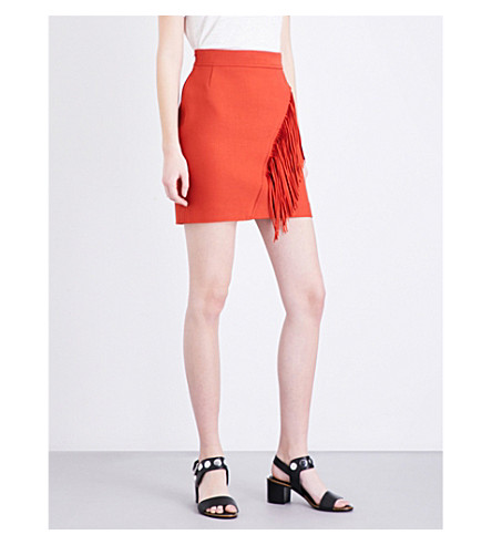 MAJE Jano twill skirt (Terracotta