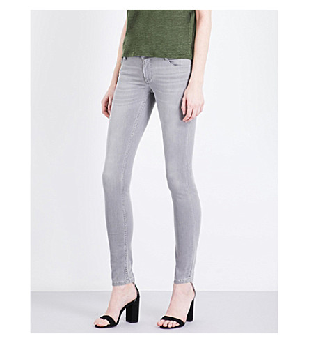 MAJE Jaw skinny low-rise jeans (Gris
