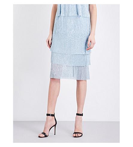 MAJE Jelena tiered pleated skirt (Bleu+ciel