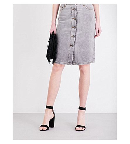 MAJE Jemmie high-rise denim skirt (Gris
