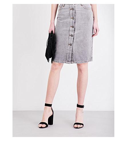 MAJE Jemmie high-rise denim skirt (Gris