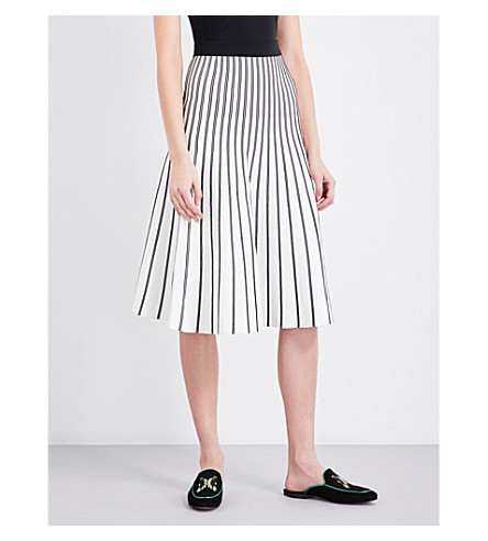 MAJE Jibralto striped stretch-knit midi skirt (Ecru