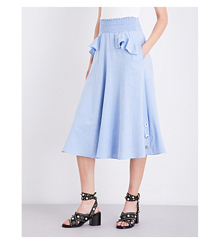 MAJE Jiliio cotton-twill midi skirt (Bleu
