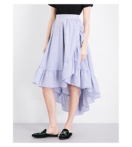 MAJE John asymmetric poplin skirt (Bleu