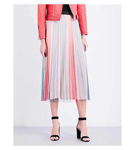 MAJE Jonaelo pleated chiffon skirt (Imprime