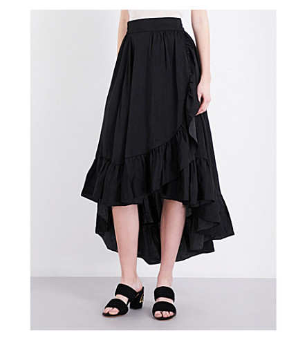 MAJE Jonah ruffled satin skirt (Black