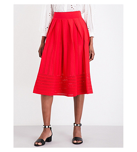 MAJE Jubio stretch-knit skirt (Framboise