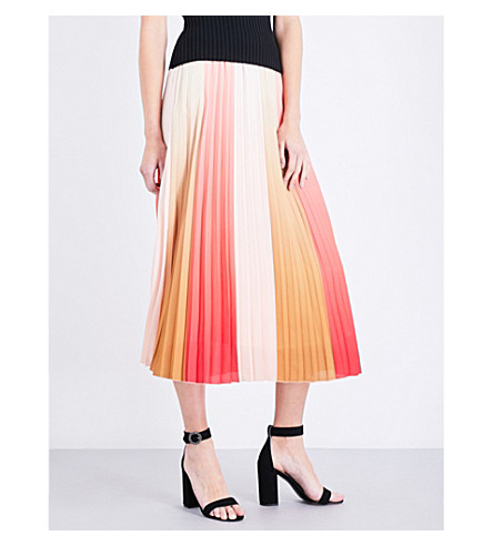 MAJE Junin pleated chiffon skirt (Imprime