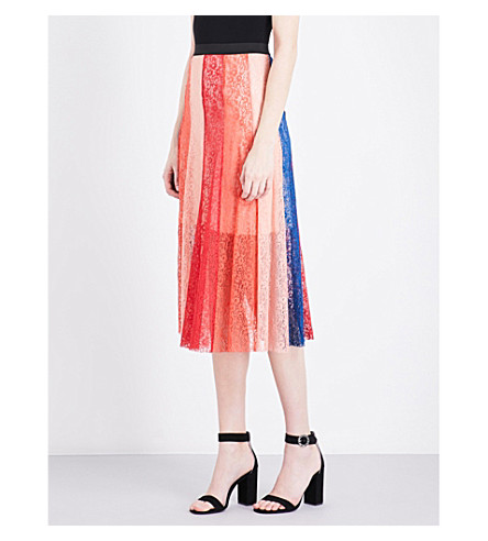 MAJE Jupiter panelled lace skirt (Multicolor