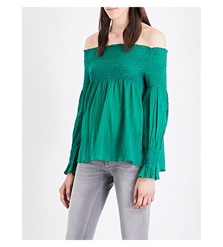 MAJE Lafyr off-the-shoulder cotton top (Vert