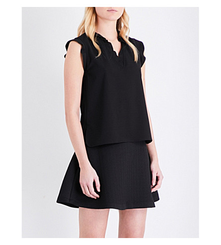 MAJE Leontine crepe and silk-chiffon top (Black