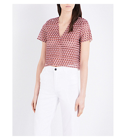 MAJE Lezabel cropped semi-sheer woven top (Imprime