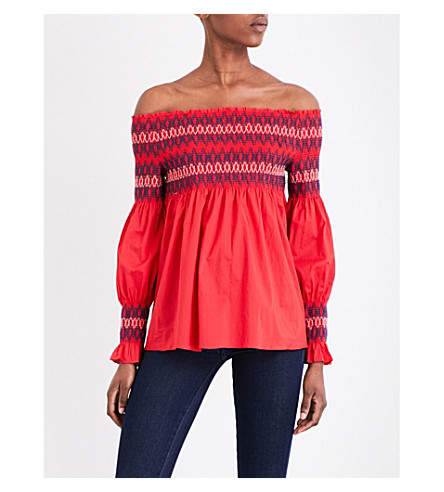 MAJE Lezky cotton-poplin blouse (Rouge
