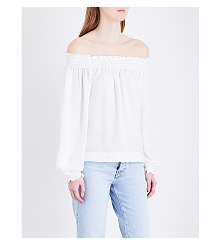 MAJE Lorisa off-the-shoulder woven blouse (Blanc