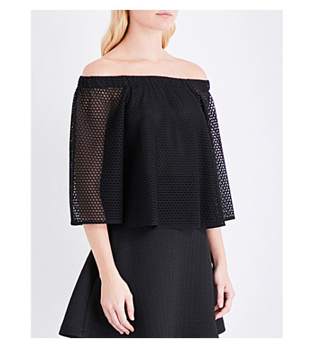 MAJE Lor off-the-shoulder lace top (Black