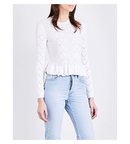 MAJE Malice frilled knitted jumper (Ecru