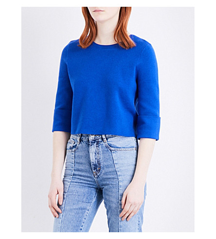 MAJE Manuel lace-up back knitted jumper (Bleu