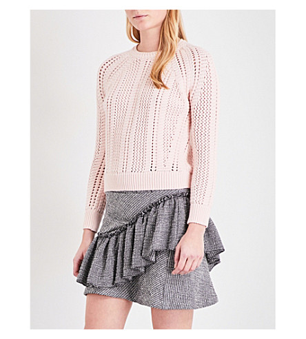 MAJE Openwork chunky-knit cotton-blend jumper (Nude