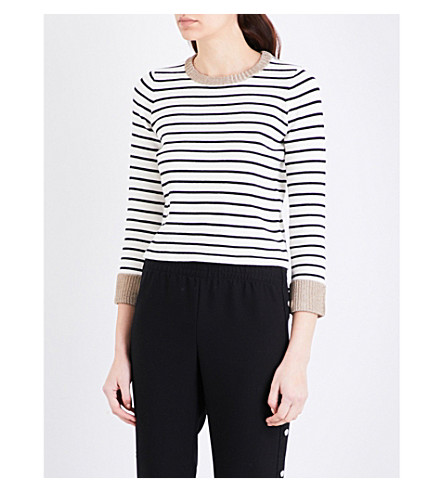 MAJE Martina striped knitted jumper (Ecru