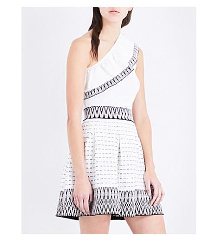 f21cacaf5ac573 MAJE Mashup one-shoulder stretch-knit top (Ecru