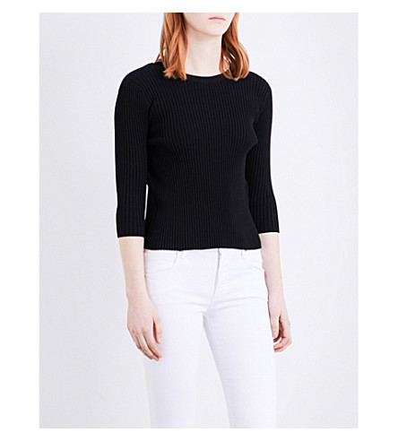 MAJE Ribbed knitted jumper (Black