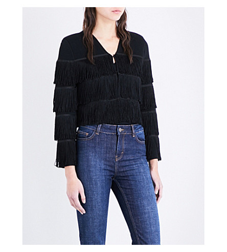 MAJE Melisse fringed stretch-knit cardigan (Black