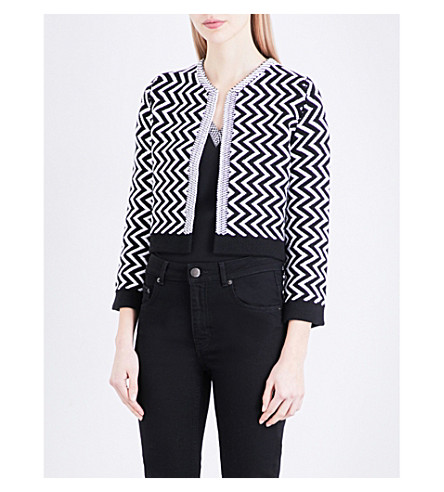 MAJE Miami cropped knitted cardigan (Bicolore