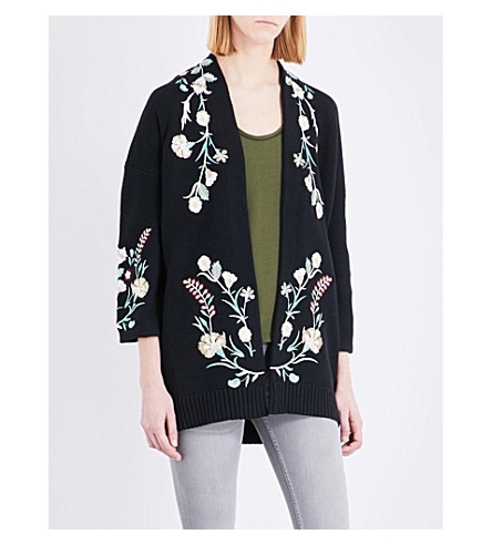 MAJE Mirodi floral-embroidered cotton-blend cardigan (Black