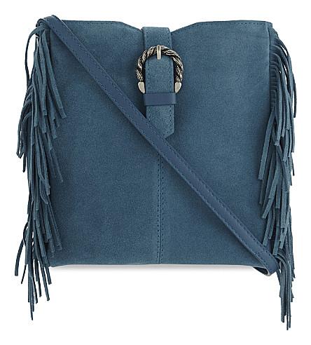MAJE M suede cross-body bag (Bleu