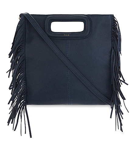 MAJE Fringe-trim leather cross-body bag (Bleu