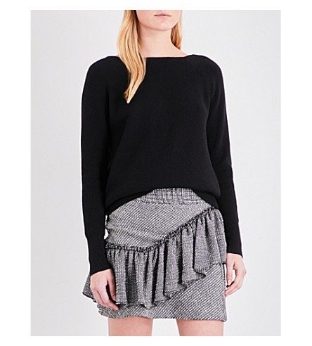 MAJE Moon cutout knitted jumper (Black