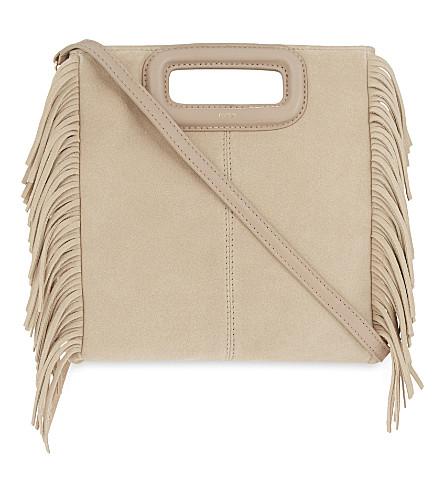 MAJE M suede shoulder bag (Nude