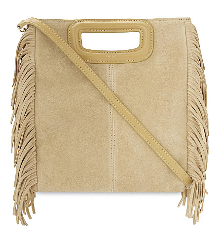 MAJE M suede cross-body bag (Beige