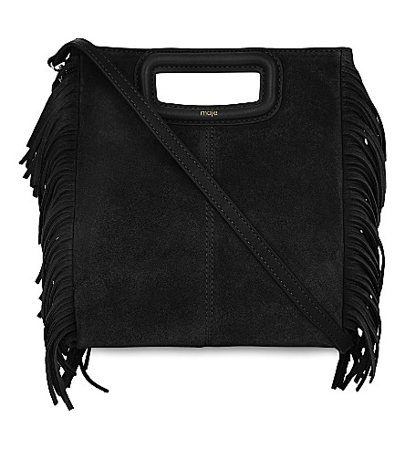 MAJE M suede cross-body bag (Black