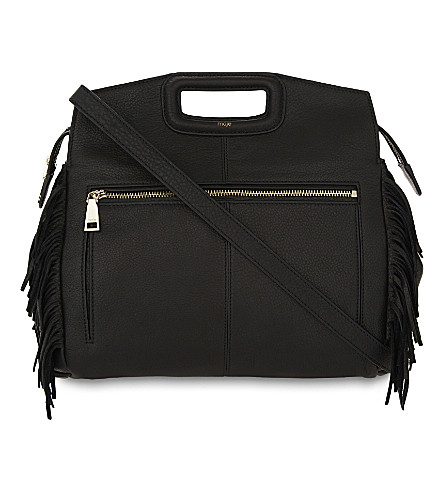 MAJE Mwalk fringed grained leather shoulder bag (Black