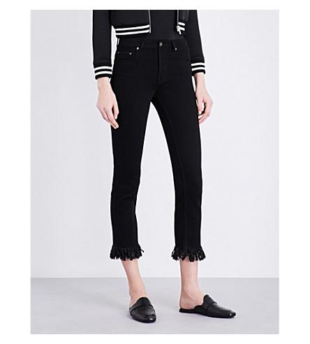 MAJE Panako frayed-hem cropped mid-rise jeans (Black