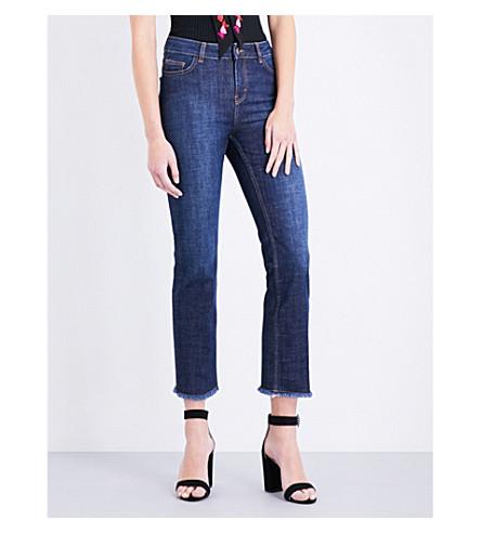 MAJE Parisse frayed-hem cropped high-rise jeans (Bleu
