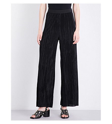 MAJE Plissé crepe trousers (Black