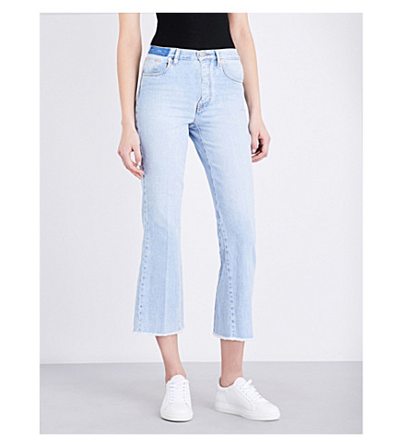 MAJE Prudy flared cropped mid-rise jeans (Bleu