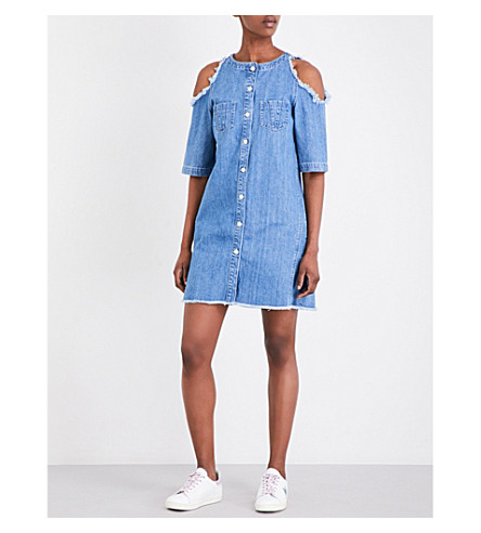 MAJE Raki cold-shoulder denim dress (Bleu