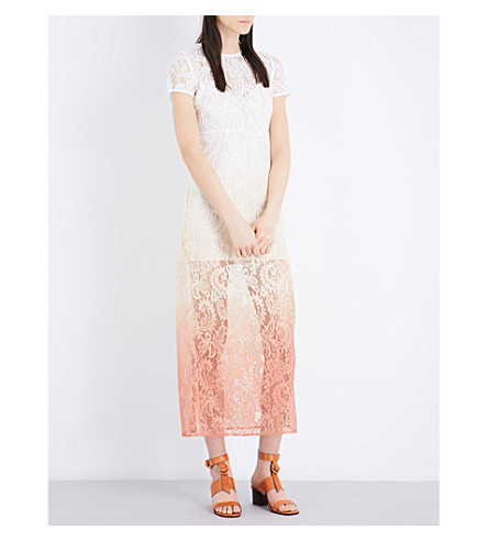 MAJE Ralux ombré lace dress (Ecru