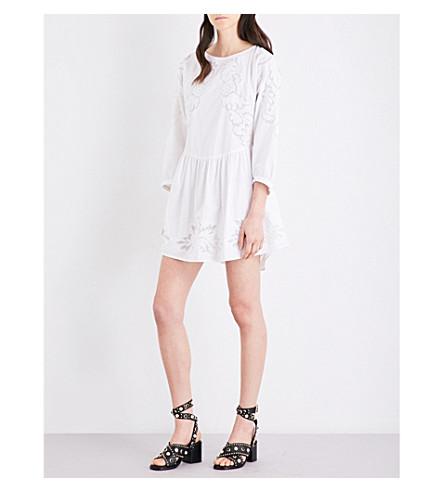 MAJE Raolita embroidered cotton-poplin dress (Blanc