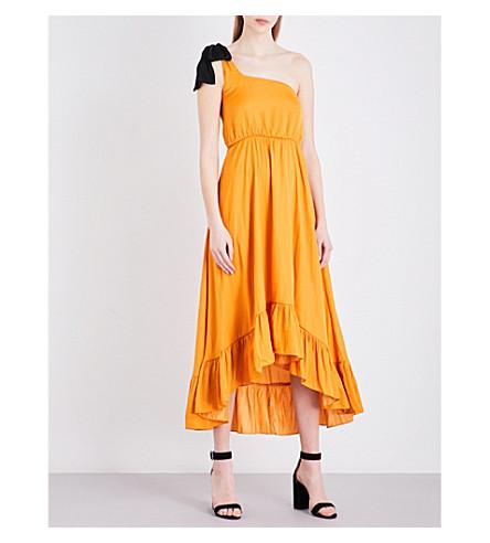 MAJE Rasti one-shoulder satin dress (Jaune