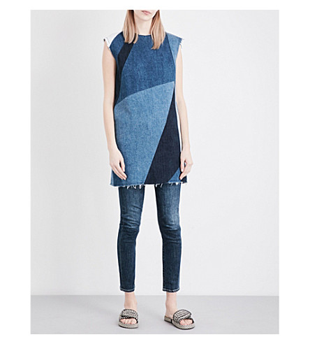 MAJE Ratch patchwork denim mini dress (Bleu