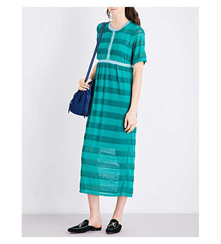 MAJE Relona striped knitted midi dress (Vert