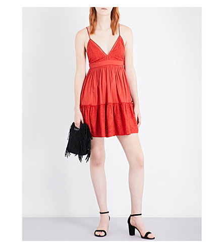 MAJE Rendi broderie anglaise cotton mini dress (Terracotta