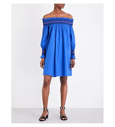 MAJE Resky off-the-shoulder cotton-poplin dress (Bleu
