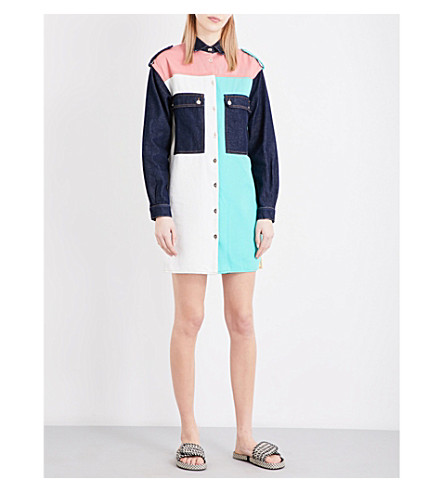 MAJE Rhodes patchwork denim shirt dress (Multico